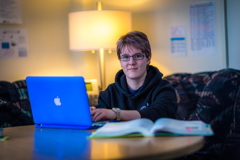 """Sophomore pre-nursing major Michaela Lockes studies in the student lounge at UAF's Kuskokwim Campus in Bethel.  <div class=""""ss-paypal-button"""">Filename: LIF-16-4859-116.jpg</div><div class=""""ss-paypal-button-end""""></div>"""
