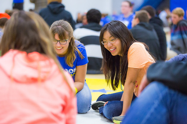 """Rose Crelli, center, reacts with a smile from a storytelling activity during the last event of New Student Orientation at the Student Rec. Center.  <div class=""""ss-paypal-button"""">Filename: LIF-13-3924-157.jpg</div><div class=""""ss-paypal-button-end"""" style=""""""""></div>"""