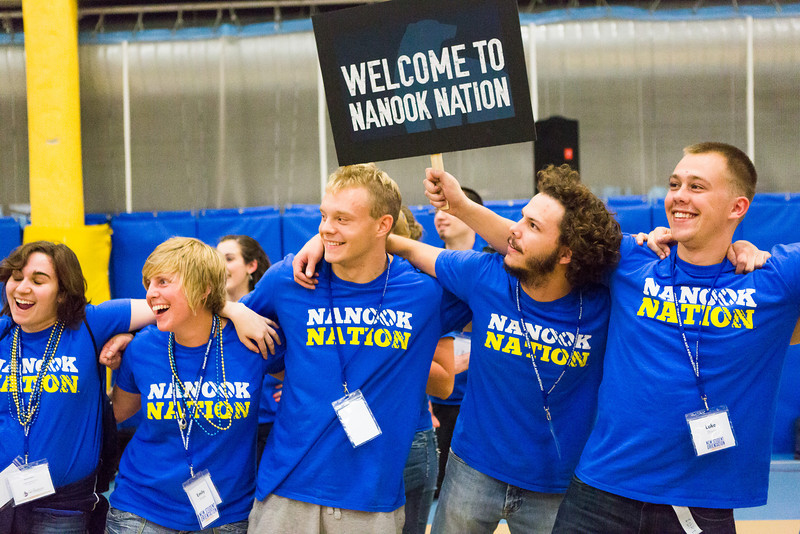 """Orientation leaders link arms during the last event at New Student Orientation at the Student Rec. Center.  <div class=""""ss-paypal-button"""">Filename: LIF-13-3924-61.jpg</div><div class=""""ss-paypal-button-end"""" style=""""""""></div>"""
