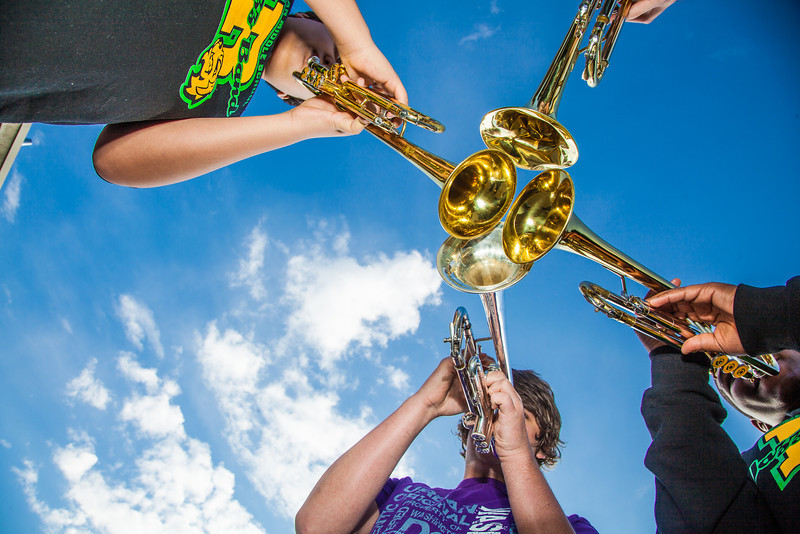 """Participants in UAF's recent JazzFest put their horns together to make some sweet sounds in front of the Fine Arts Complex.  <div class=""""ss-paypal-button"""">Filename: LIF-12-3354-17.jpg</div><div class=""""ss-paypal-button-end"""" style=""""""""></div>"""