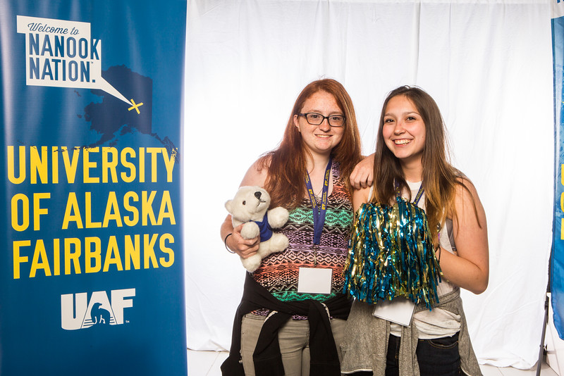 """Prospective students take a portrait during the summer 2016 Inside Out event hosted by the UAF's Office of Admissions and the Registrar.  <div class=""""ss-paypal-button"""">Filename: LIF-16-4926-6.jpg</div><div class=""""ss-paypal-button-end""""></div>"""