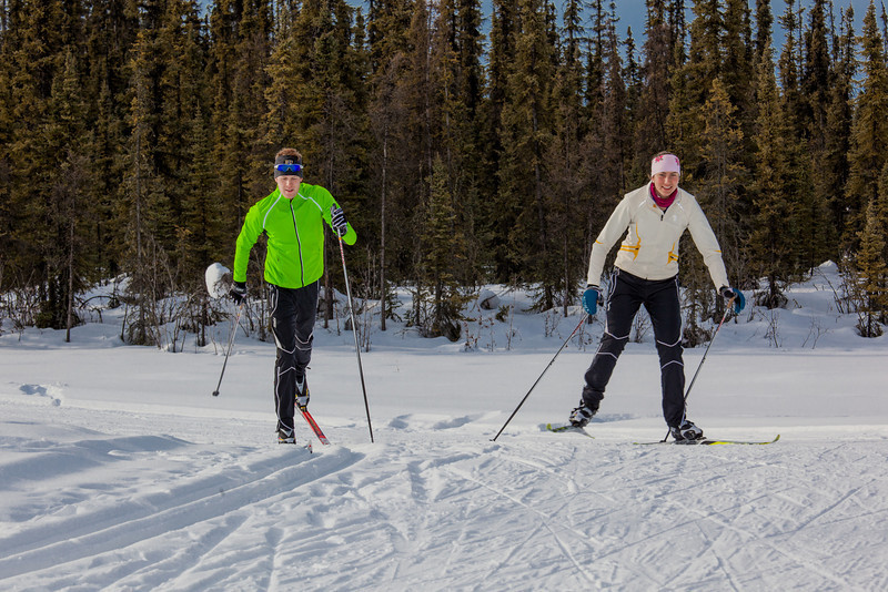 "UAF students Ian Wilkinson and Raphaela Sieber enjoy a morning loop around the campus ski trails.  <div class=""ss-paypal-button"">Filename: LIF-12-3348-46.jpg</div><div class=""ss-paypal-button-end"" style=""""></div>"