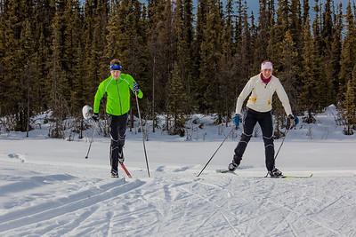 UAF students Ian Wilkinson and Raphaela Sieber enjoy a morning loop around the campus ski trails.  Filename: LIF-12-3348-46.jpg