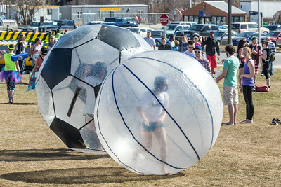 Participants had fun running inside the inflatable balls during SpringFest Field Day April 28.  Filename: LIF-14-4168-157.jpg