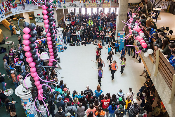 """Students watch performers during a dance-off at the 2013 Spring Fest inside Wood Center.  <div class=""""ss-paypal-button"""">Filename: LIF-13-3799-94.jpg</div><div class=""""ss-paypal-button-end"""" style=""""""""></div>"""