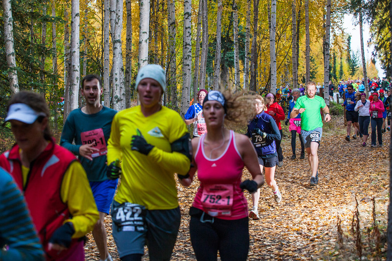 """At least 1,200 runners leave the University of Alaska campus at the start of the 50th Annual Equinox Marathon, Saturday morning, September 15, 2012.  <div class=""""ss-paypal-button"""">Filename: LIF-12-3553-29.jpg</div><div class=""""ss-paypal-button-end"""" style=""""""""></div>"""