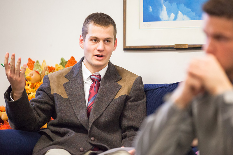 """ASUAF Senator Blake Burley speaks on a motion during a student government meeting at the Alumni Lounge in October.  <div class=""""ss-paypal-button"""">Filename: LIF-12-3582-75.jpg</div><div class=""""ss-paypal-button-end"""" style=""""""""></div>"""