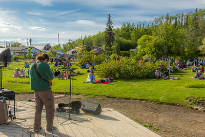 Local musician Ukulele Russ entertained a nice crowd during UAF Summer Session's free Music in the Garden concert series June 12.  Filename: LIF-14-4209-45.jpg