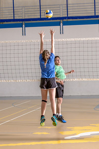 Intramural volleyball action on a Tuesday night at the Student Recreation Center.  Filename: LIF-14-4111-210.jpg