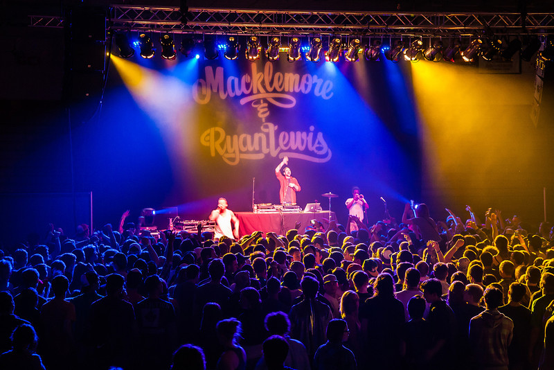"""A packed house filled the Patty Center Friday night for the Macklemore concert hosted by the Student Activities office during Springfest.  <div class=""""ss-paypal-button"""">Filename: LIF-12-3380-121.jpg</div><div class=""""ss-paypal-button-end"""" style=""""""""></div>"""