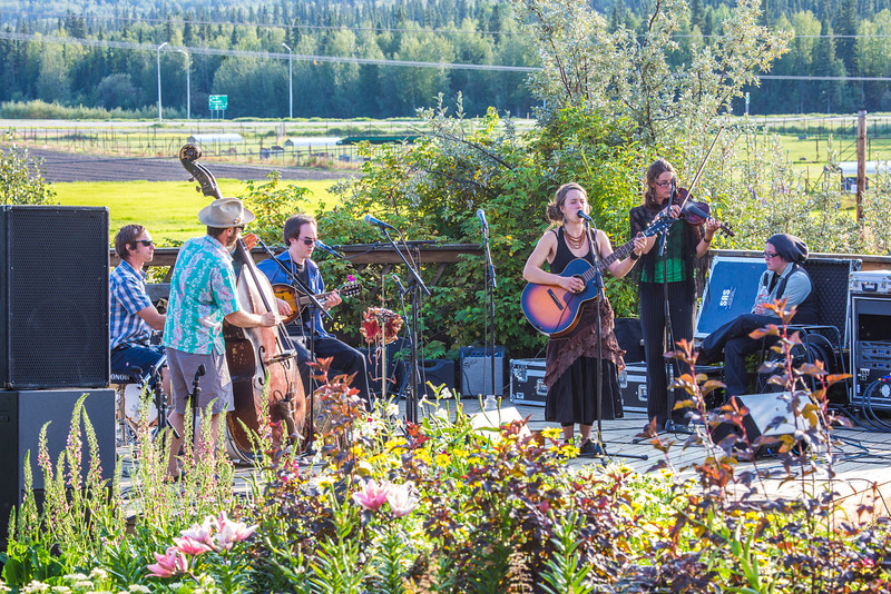 """The local Fairbanks band Zingaro Roots performed before an appreciative audience during one of the Concert in the Garden events sponsored by UAF Summer Sessions.  <div class=""""ss-paypal-button"""">Filename: LIF-12-3489-001.jpg</div><div class=""""ss-paypal-button-end"""" style=""""""""></div>"""