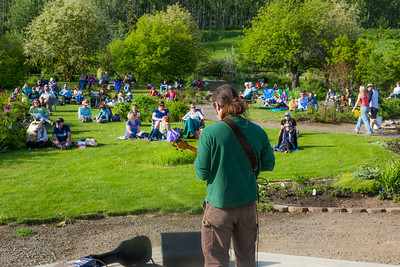 Local musician Ukulele Russ entertained a nice crowd during UAF Summer Session's free Music in the Garden concert series June 12.  Filename: LIF-14-4209-29.jpg