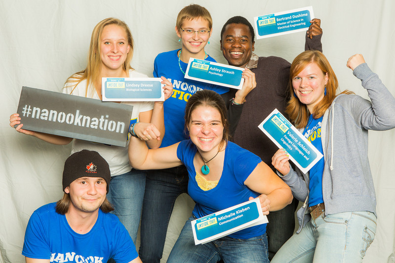 "Student Ambassadors pose for a photobooth portrait during UAF's InsideOut Day for high school students.  <div class=""ss-paypal-button"">Filename: LIF-13-3965-9.jpg</div><div class=""ss-paypal-button-end"" style=""""></div>"