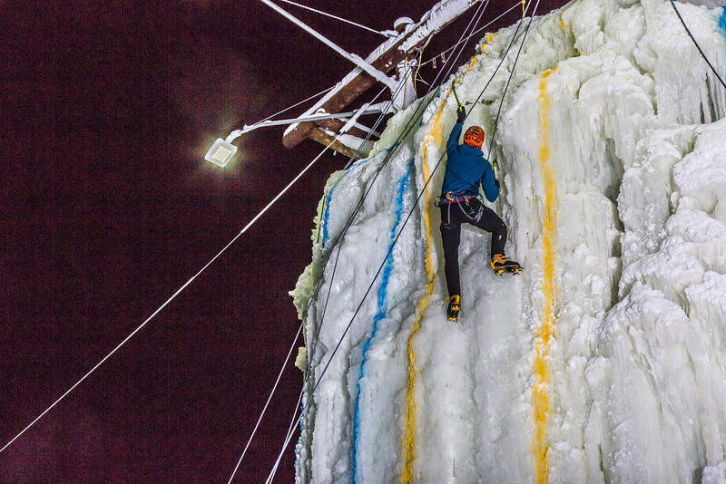 "A climber approaches the top of the tower during the ice climbing competition, offered as part of the 2014 UAF Winter Carnival.  <div class=""ss-paypal-button"">Filename: LIF-14-4084-66.jpg</div><div class=""ss-paypal-button-end"" style=""""></div>"