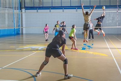 Intramural volleyball action on a Tuesday night at the Student Recreation Center.  Filename: LIF-14-4111-236.jpg