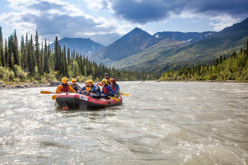 """Participants in a UAF Outdoor Adventures day-long raft trip paddle down the Nenana River.  <div class=""""ss-paypal-button"""">Filename: OUT-12-3492-084.jpg</div><div class=""""ss-paypal-button-end"""" style=""""""""></div>"""