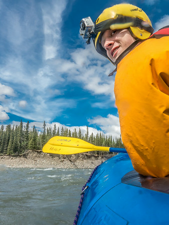 Biology major Isaac Van Flein joined UAF Outdoor Adventures on a raft trip down the Nenana River in June, 2014.  Filename: OUT-14-4211-340.jpg