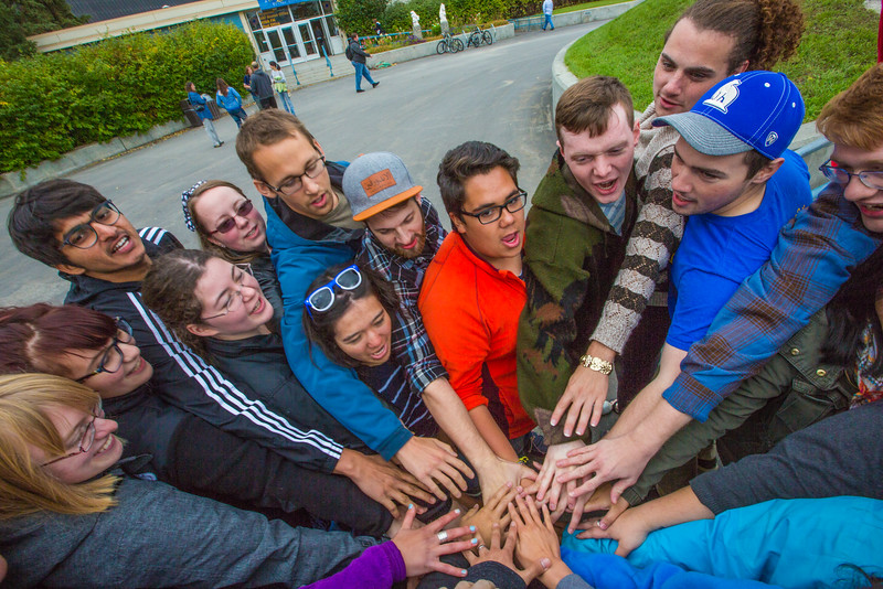 """UAF Orientation Leaders engage in team building exercises before students arrive on campus before the start of the fall 2015 semester.  <div class=""""ss-paypal-button"""">Filename: LIF-15-4635-068.jpg</div><div class=""""ss-paypal-button-end""""></div>"""