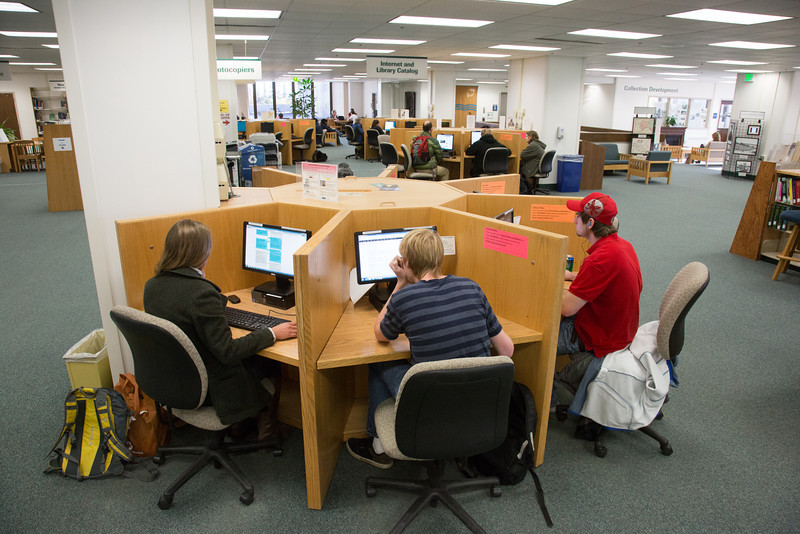 """Students browse the internet on the public computers set up on the main floor of the Rasmuson Library on the Fairbanks campus.  <div class=""""ss-paypal-button"""">Filename: LIF-13-3950-86.jpg</div><div class=""""ss-paypal-button-end"""" style=""""""""></div>"""