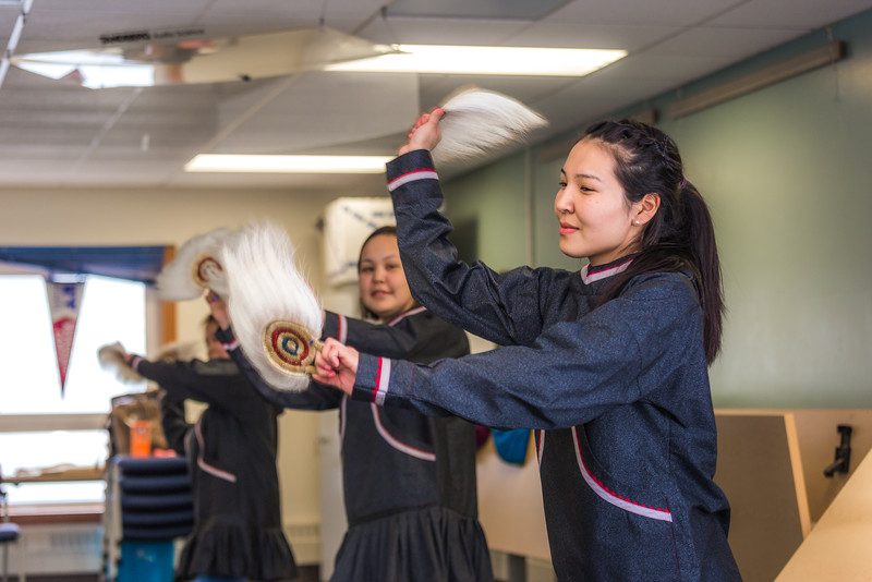 """Larissa Flynn and other members of the KuC Yuraq Dance Group practice in the school's conference room on March 30. Flynn is a certificate pre-nursing student from Chefornak and a resident of Sackett Hall on the Kuskokwim Campus.  <div class=""""ss-paypal-button"""">Filename: LIF-16-4859-401.jpg</div><div class=""""ss-paypal-button-end""""></div>"""