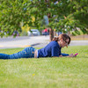 "Biology major Kayleen Hansen enjoys the nice weather on campus during the first day of classes for the fall semester.  <div class=""ss-paypal-button"">Filename: LIF-12-3529-074.jpg</div><div class=""ss-paypal-button-end"" style=""""></div>"