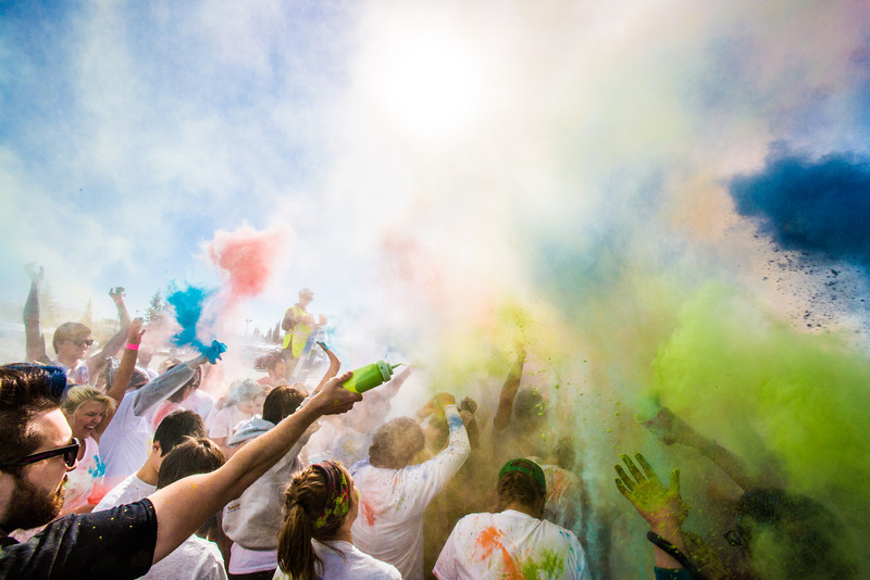 """Students enjoy getting doused with colored dye before participating in a 5-kilometer run during SpringFest on the Fairbanks campus.  <div class=""""ss-paypal-button"""">Filename: LIF-13-3805-64.jpg</div><div class=""""ss-paypal-button-end"""" style=""""""""></div>"""