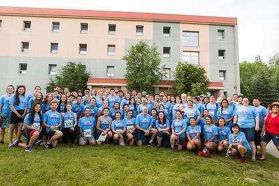 U.S. Senator Dan Sullivan takes a group portrait with the 2016 RAHI participants before the 2016 Midnight Sun Run.  Filename: LIF-16-4918-58.jpg