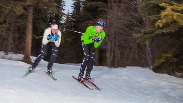 UAF students Ian Wilkinson and Raphaela Sieber enjoy a morning loop around the campus ski trails.  Filename: LIF-12-3348-75.jpg