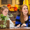 "ASUAF Mari Freitag, right, listens to the role call from ASUAF Chair Ayla O'Scannell during the student government at their weekly meeting at the Alumni Lounge in October.  <div class=""ss-paypal-button"">Filename: LIF-12-3582-2.jpg</div><div class=""ss-paypal-button-end"" style=""""></div>"