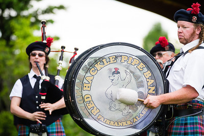 Fairbanks Red Hackle Pipe Band kicks off Summer Sessions' Music in the Garden series at the Georgeson Botanical Garden.  Filename: LIF-12-3426-50.jpg