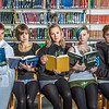 "Members of the Fairbanks Roller Derby league pose for a promotional reading poster in the Rasmuson Library on the Fairbanks campus. The skaters are all students or employees at UAF.  <div class=""ss-paypal-button"">Filename: LIF-13-3950-26.jpg</div><div class=""ss-paypal-button-end"" style=""""></div>"