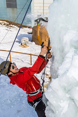Engineering major Ryan Kudo enjoys a late season climb up the UAF ice wall on April 4.  Filename: LIF-14-4132-106.jpg