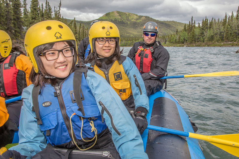 "International students Ko-Fan Lu, front, and Chien-An Peng joined UAF Outdoor Adventures guide-in-training Dakota Reimann-Kershner and others on a raft trip down the Nenana River in June, 2014.  <div class=""ss-paypal-button"">Filename: OUT-14-4211-064.jpg</div><div class=""ss-paypal-button-end""></div>"