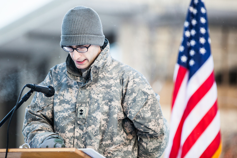 """UAF Cadet Jerad Flynn reads names of fallen service members killed in combat in Iraq and Afghanistan during the Veterans Day Memorial Roll Call Monday, Nov. 12, 2012, at Constitution Park.  <div class=""""ss-paypal-button"""">Filename: LIF-12-3644-49.jpg</div><div class=""""ss-paypal-button-end"""" style=""""""""></div>"""