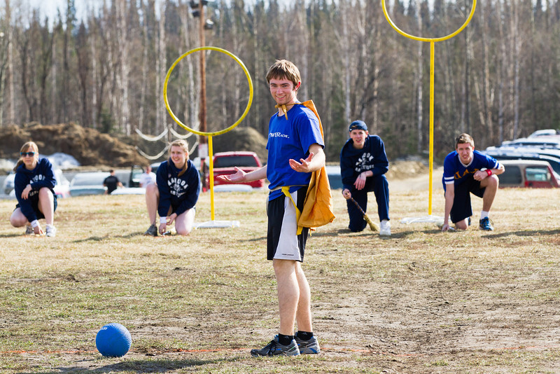 """Tux Seims as the """"golden snitch"""" prepares to take off before a game of Quidditch during field day activities at the 2012 UAF Spring Fest.  <div class=""""ss-paypal-button"""">Filename: LIF-12-3384-199.jpg</div><div class=""""ss-paypal-button-end"""" style=""""""""></div>"""
