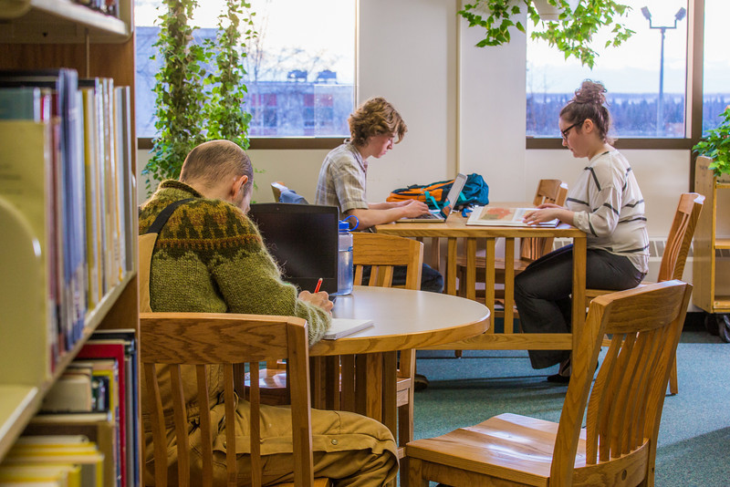 """Students take advantage of the quiet area on the 5th floor of the Rasmuson Library to catch up on some studying on a recent afternoon.  <div class=""""ss-paypal-button"""">Filename: LIF-14-4045-47.jpg</div><div class=""""ss-paypal-button-end"""" style=""""""""></div>"""