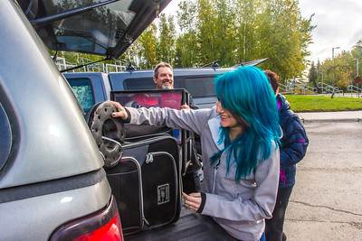 Returning students, staff and parents all pitch in to help new arrivals move into the residence halls during Rev It Up on the Fairbanks campus at the beginning of the fall 2015 semester.  Filename: LIF-15-4636-131.jpg