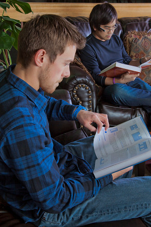"Engineering students Joe Hunner and Tachit Chairat study in the lounge at the Wood Center.  <div class=""ss-paypal-button"">Filename: LIF-11-3190-12.jpg</div><div class=""ss-paypal-button-end"" style=""""></div>"