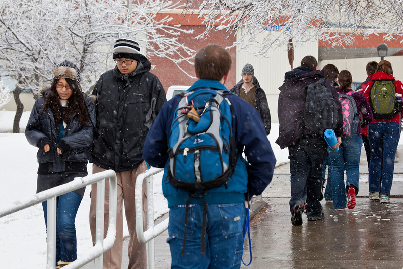 """Students walking around campus on Monday afternoon encountered the first snowfall of the semester.  <div class=""""ss-paypal-button"""">Filename: LIF-11-3199-61.jpg</div><div class=""""ss-paypal-button-end"""" style=""""""""></div>"""
