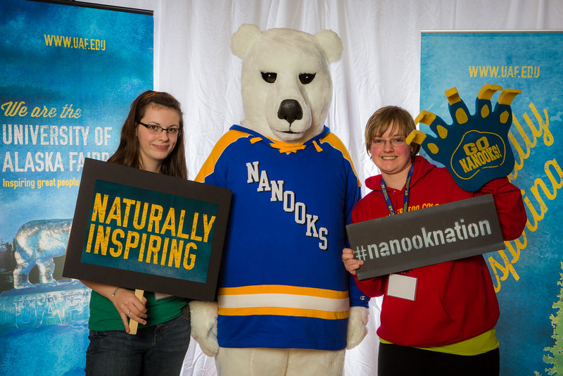 "Prospective students pose with the UAF mascot during the Fall 2015 Inside Out event hosted by UAF's office of admissions and the registrar.  <div class=""ss-paypal-button"">Filename: LIF-14-4353-47.jpg</div><div class=""ss-paypal-button-end""></div>"