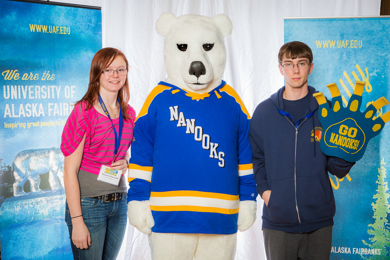 """Prospective students pose with the UAF mascot during the Fall 2015 Inside Out event hosted by UAF's office of admissions and the registrar.  <div class=""""ss-paypal-button"""">Filename: LIF-14-4353-89.jpg</div><div class=""""ss-paypal-button-end""""></div>"""