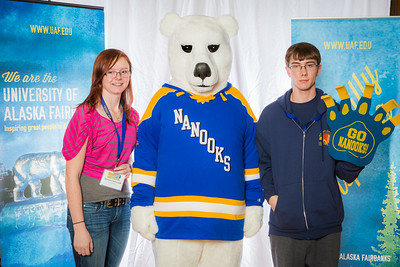 Prospective students pose with the UAF mascot during the Fall 2015 Inside Out event hosted by UAF's office of admissions and the registrar.  Filename: LIF-14-4353-89.jpg