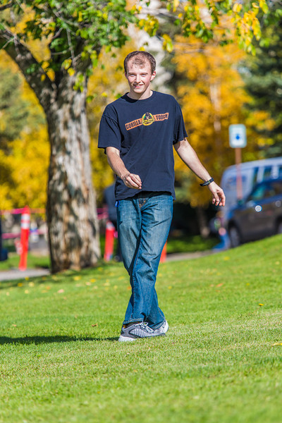 """Engineering major Philip White takes time between classes to play with a frisbee on a beautiful September afternoon on the Fairbanks campus.  <div class=""""ss-paypal-button"""">Filename: LIF-13-3934-105.jpg</div><div class=""""ss-paypal-button-end"""" style=""""""""></div>"""