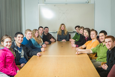 Members of Students Who Enjoy Economic Thinking and their advisor, Sherri Wall, pose for a portrait at the Kayak Conference Room at the Rasmuson Library.  Filename: LIF-13-4014-22.jpg