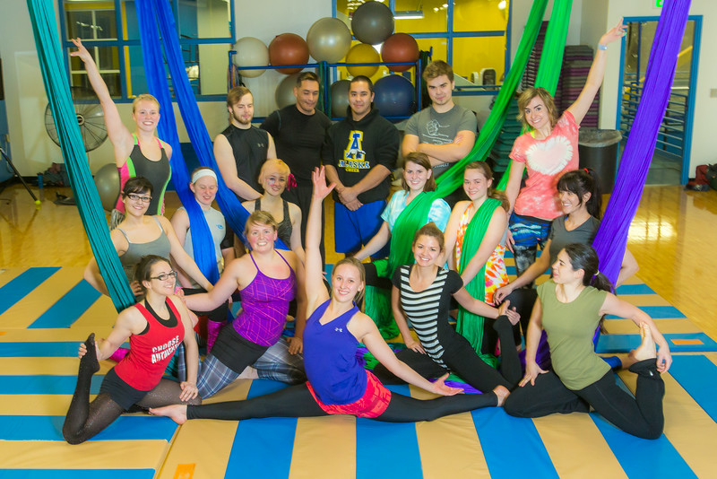 "Members of the UAF Silk Club pose for a group photo in the Student Recreation Center on the Fairbanks campus. The group, which boasts about 25 students and staff members meet twice a week to learn new moves and increase strength and flexibility.  <div class=""ss-paypal-button"">Filename: LIF-13-4025-55.jpg</div><div class=""ss-paypal-button-end""></div>"