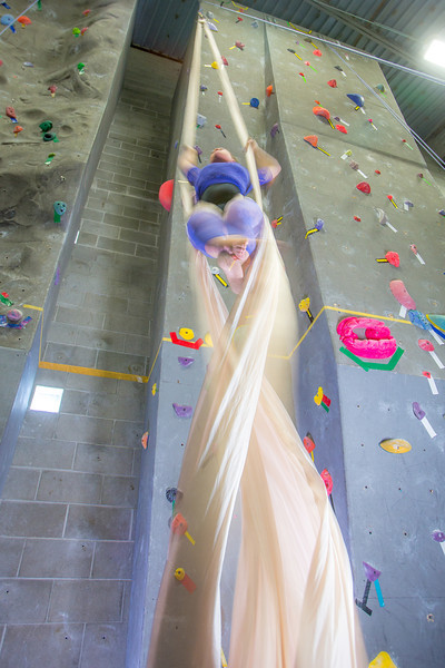 "Graduate student Stephany Jeffers practices her silk climbing skills in the SRC.  <div class=""ss-paypal-button"">Filename: LIF-13-3819-194.jpg</div><div class=""ss-paypal-button-end"" style=""""></div>"