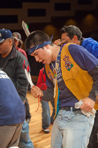 The Troth Yeddha' dance group performs an open invitational dance during the opening evening of the 2012 Festival of Native Arts in the Charles Davis Concert Hall.  Filename: LIF-12-3313-13.jpg