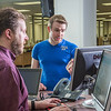 "Staff librarian Paul Adasiak, left, helps music major Campbell Longworth with a reference question in the UAF Rasmuson Library on the Fairbanks campus.  <div class=""ss-paypal-button"">Filename: LIF-14-4045-184.jpg</div><div class=""ss-paypal-button-end"" style=""""></div>"