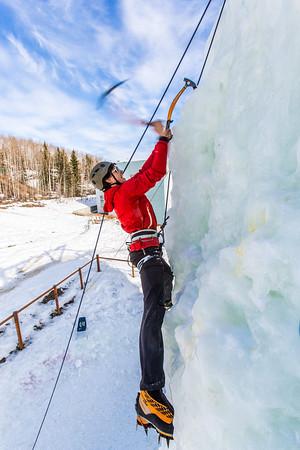 Engineering major Ryan Kudo enjoys a late season climb up the UAF ice wall on April 4.  Filename: LIF-14-4132-122.jpg