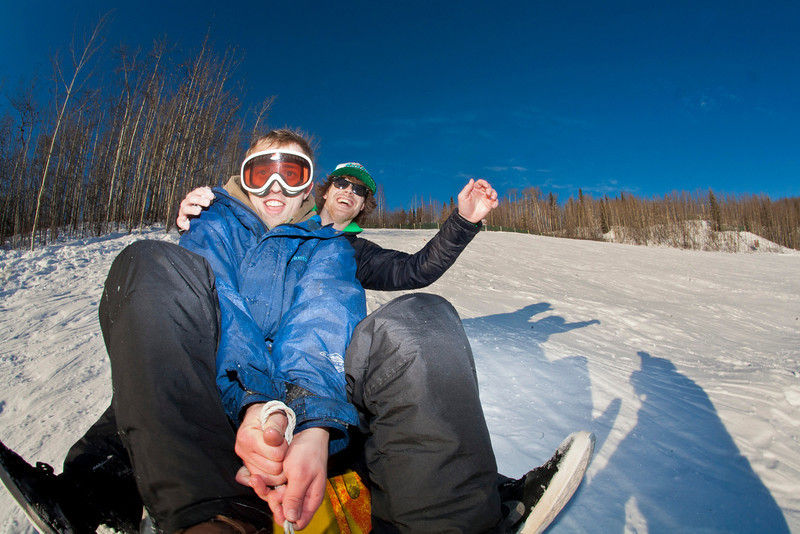 "Jimmy Donohue (back) and Bryan Johnson (front) go sledding on a sunny day in February.  <div class=""ss-paypal-button"">Filename: LIF-12-3289-46.jpg</div><div class=""ss-paypal-button-end"" style=""""></div>"